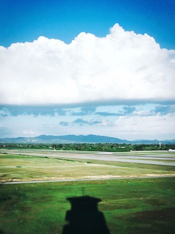 Landscape Sky Field Nature Beauty In Nature Scenics Tranquil Scene Cloud - Sky Tranquility Day Agriculture Outdoors No People Rural Scene Aerospace Industry Runway Airport Airport Runway Transportation Sky And Clouds Tower Taxiway Shade