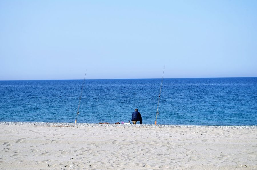Angler Beach Clear Sky Fishing Fishing Pole Horizon Over Water Men Real People Sand Sea Water