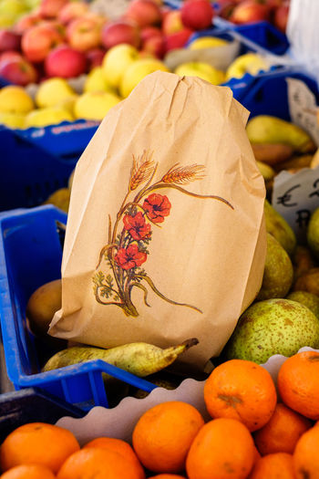 fruits on local market Abundance Bag Close-up Focus On Foreground Food Food And Drink For Sale Freshness Fruit Healthy Eating Indoors  Large Group Of Objects Market Market Stall No People Paper Paper Bag Retail  Still Life Wellbeing