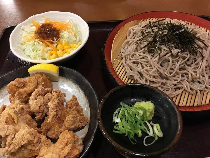 日本蕎麦と唐揚げ Japanese Soba Karaage Food Food And Drink Freshness Healthy Eating Ready-to-eat Plate Still Life