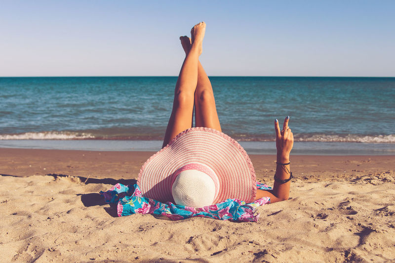 Beach Beauty In Nature Blue Casual Clothing Clear Sky Coastline Day Girl Horizon Over Water Nature Outdoors Person Relaxation Sand Scenics Sea Shore Solitude Summer Tranquil Scene Tranquility Vacations Water Woman First Eyeem Photo