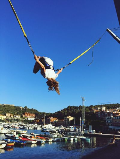 Salto Jumping Sky Water Clear Sky Nautical Vessel Mode Of Transportation Nature Be Brave Hanging Blue Waterfront Yacht