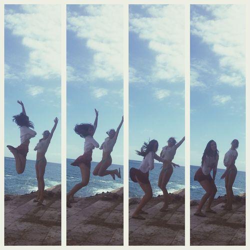 Enjoying Life Taking Photos Traveling Friends Jump Beach Girl Girls Girlfriend