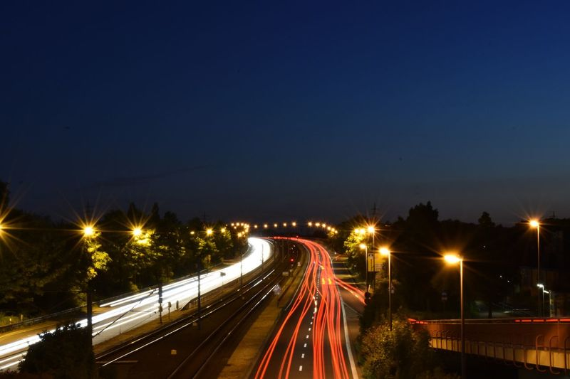 Light trails on track at night