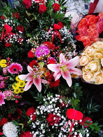 High angle view of valentine's day flower bouquet