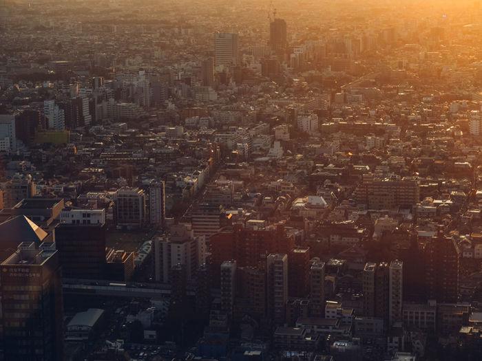 Aerial Shot Japanese  Japan Sunset City City Development