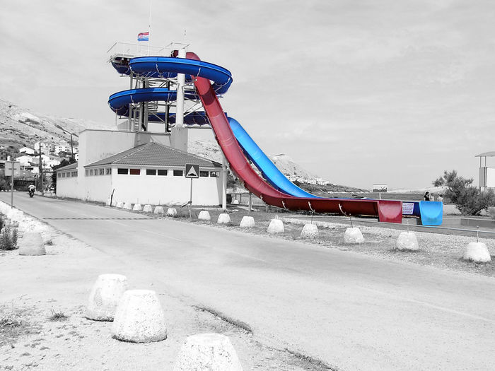 Closed waterslide Black & White Black And White Cloud - Sky Day No People Outdoors Sea Waterslide