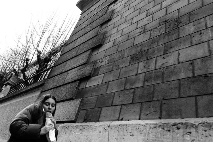 Baguette France Noir Et Blanc Paris Blackandwhite Day French Frenchgirl Lifestyles Low Angle View One Person Real People Street Photography Streetphotography Young Adult