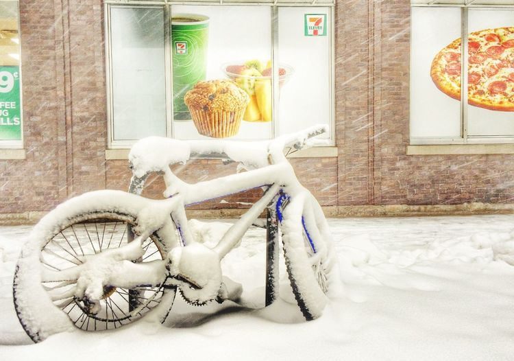 Bike Snow Chicago Pizza Muffins Blizzard Urban City Cityscapes