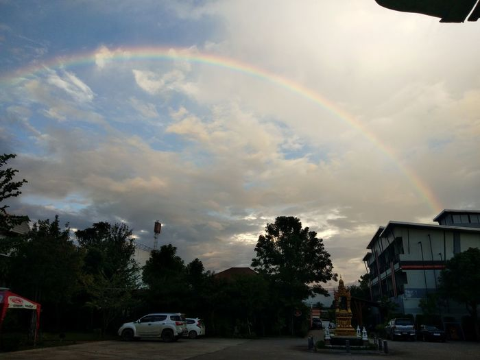 สะพาน 7 สี Tree Spectrum Storm Cloud Multi Colored Rainbow Storm Double Rainbow Residential Building House Weather