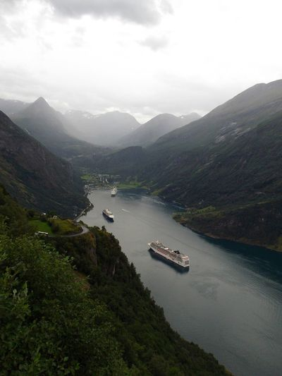 Elevated view of cruise ship in river