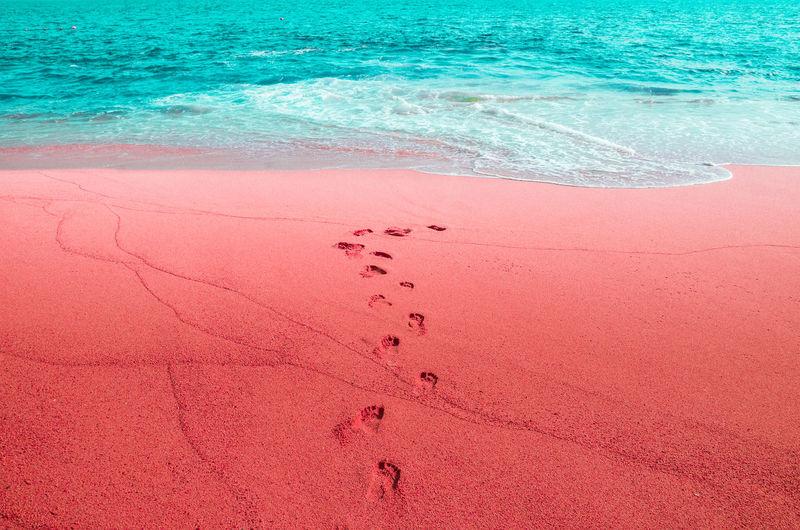 Pink Sand On Beach