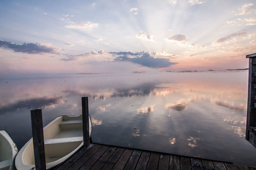 Federsee Beauty In Nature Boat Boats Cloud - Sky Day Horizon Over Water Nature No People Outdoors Scenics Sky Sunset Tranquil Scene Tranquility Water Wood - Material