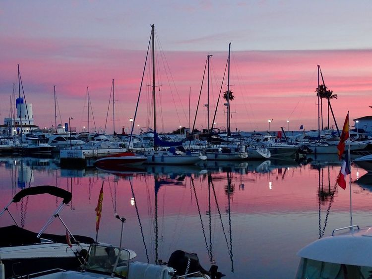 Duquesa SPAIN Sunset Nautical Vessel Moored Mode Of Transport Water Transportation Mast Harbor