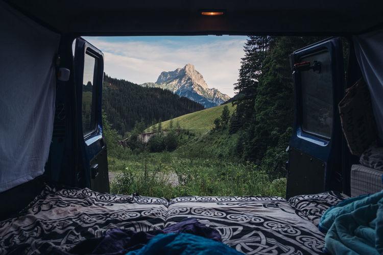 Mountains Seen Through Motor Home