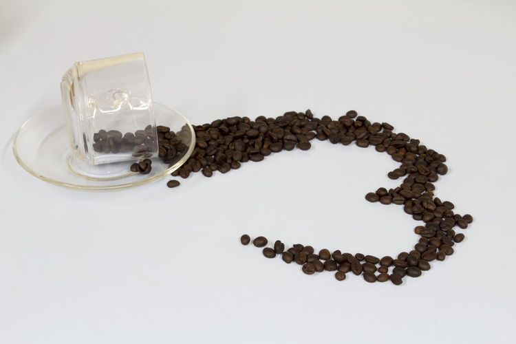 Coffe Beans Coffee Coffee Cup Cup Drink Food And Drink Glass Heart Love ♥ Studio Shot Valentine White Background