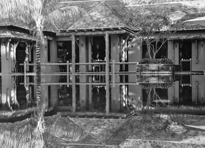 Reflection of old building on water
