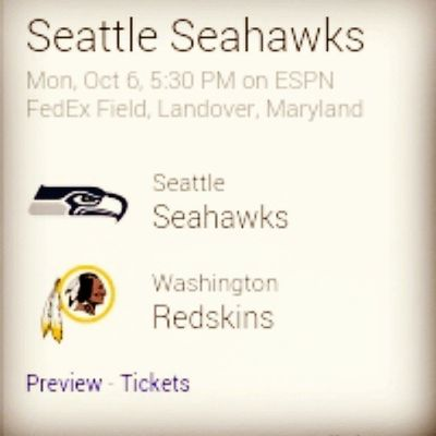 So excited! Redskins Seahawks NFL Football ?