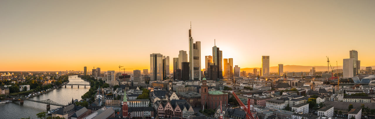 panoramic aerial view of Frankfurt at Sunset Architecture Business City Cityscape Downtown Frankfurt Frankfurt Am Main Modern Old Town Panorama Skyline Aerial View Building Business District Business Finance And Industry Germany Horizon Main No People River Skyscraper Sunrise Sunset Travel Destinations Urban Skyline