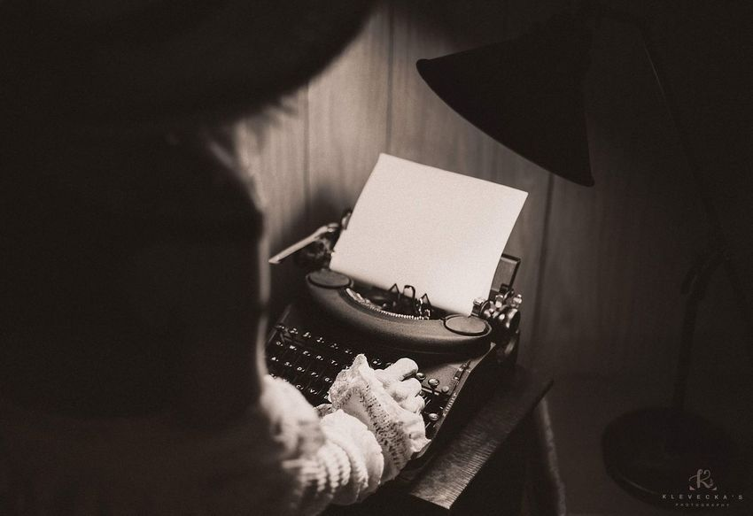 Old Fashion Women Bnw Type Writer Vintage Indoors  Human Hand Paper One Person Holding Human Body Part Home Interior Book Real People Men People Close-up Day