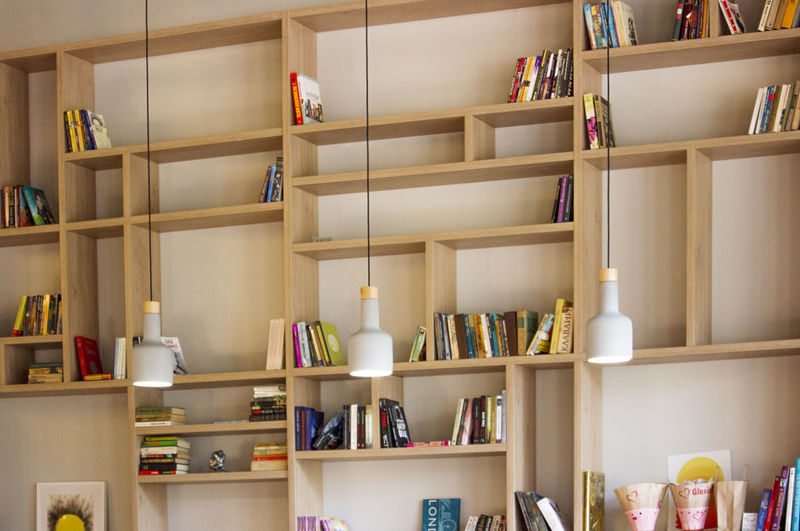 Books on shelf at home