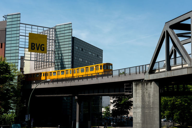 Architecture Bridge - Man Made Structure Built Structure City Communication Connection Day Low Angle View Mode Of Transport No People Outdoors Public Transportation Rail Transportation Sky Train - Vehicle Transportation Tree U Bahn U-Bahn U-Bahn Berlin