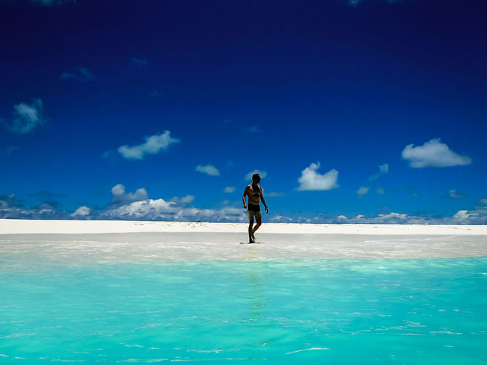 Full length of man at beach against sky