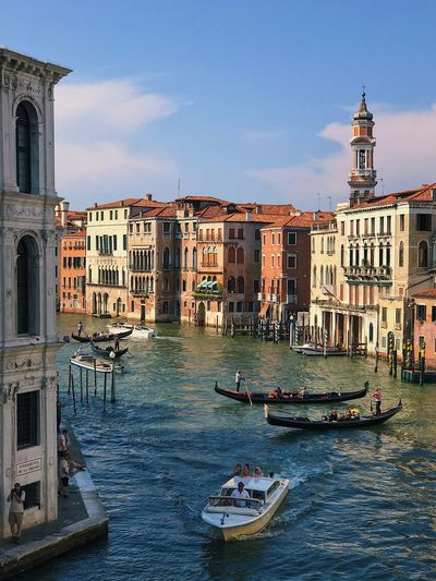 Architecture Building Exterior Canal Nautical Vessel Gondola - Traditional Boat Transportation Built Structure Day Outdoors Gondola Travel Destinations Sky Gondolier Water No People Venice, Italy Travel Views Ocean Historic Europe