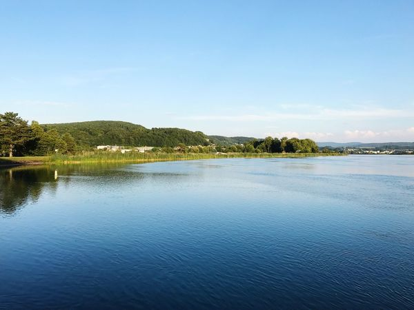 Klingnau Stausee Water Nature Tranquil Scene Tranquility Lake Scenics Beauty In Nature Outdoors No People Waterfront Day Blue Tree Sky Landscape Wasser Biketour