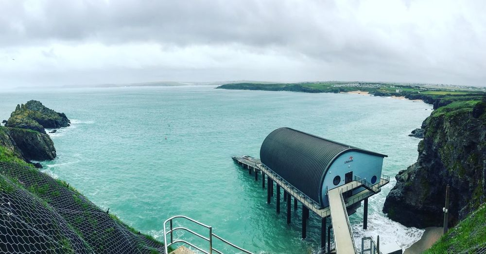 Lifeboat Station Uk Coastline Water Sky Sea Cloud - Sky Beauty In Nature Scenics - Nature Nature Tranquil Scene Horizon High Angle View Land Horizon Over Water Turquoise Colored No People