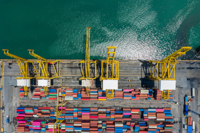 High angle view shipping containers cargo logistics transportation international open sea
