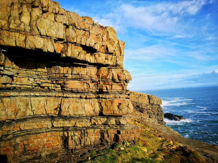 Wild Atlantic Way Loop Head Wildatlanticway Wild Atlantic Way Ireland Rocks And Water Sea And Sky Beauty In Nature Water Sea Cliff Rock - Object Sky Horizon Over Water Cloud - Sky Rock Formation Rugged Physical Geography Rocky Coastline Geology Eroded