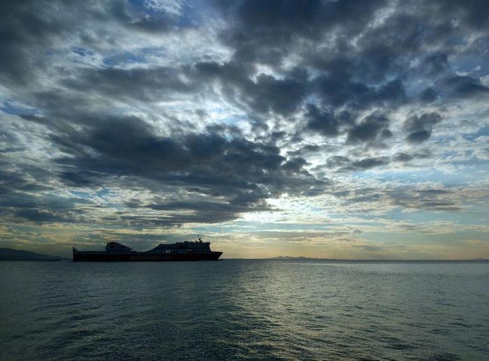 Departures and goodbyes Beauty In Nature Cloud - Sky Day Horizon Over Water Nature Nautical Vessel No People Outdoors Scenics Sea Sky Sunset Tranquil Scene Tranquility Transportation Water Waterfront Perspectives On Nature