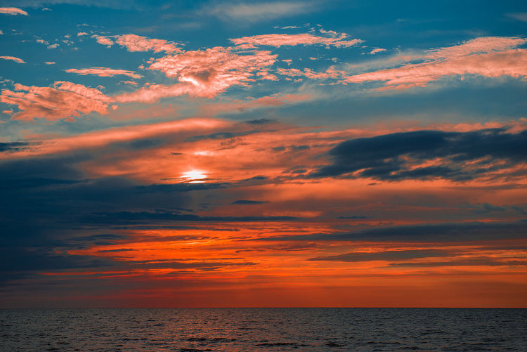 Dramatic sky over sea during sunset