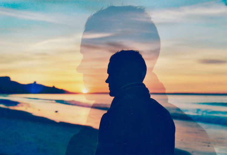Sunset Reflection Summertime Sunlight Paysages Beauty In Nature Outdoors Only Men Sea Beach Water Nature Sky Silhouette Argentic Power In Nature Kodak Portra Portrait Double Exposure Nikon Analogue Photography Film Photography Grain One Person Dusk EyeEmNewHere