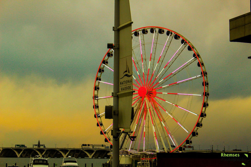 It was a dark and gloomy day... Amusement Park Amusement Park Ride Canon Cloud - Sky Colors DC Ferris Wheel Landscape Maryland NationalHarbor Nature Nikon Photo Photograph Photographer Photography Photos Pic Picture Rhemses Scenery Sky Sunset Weather