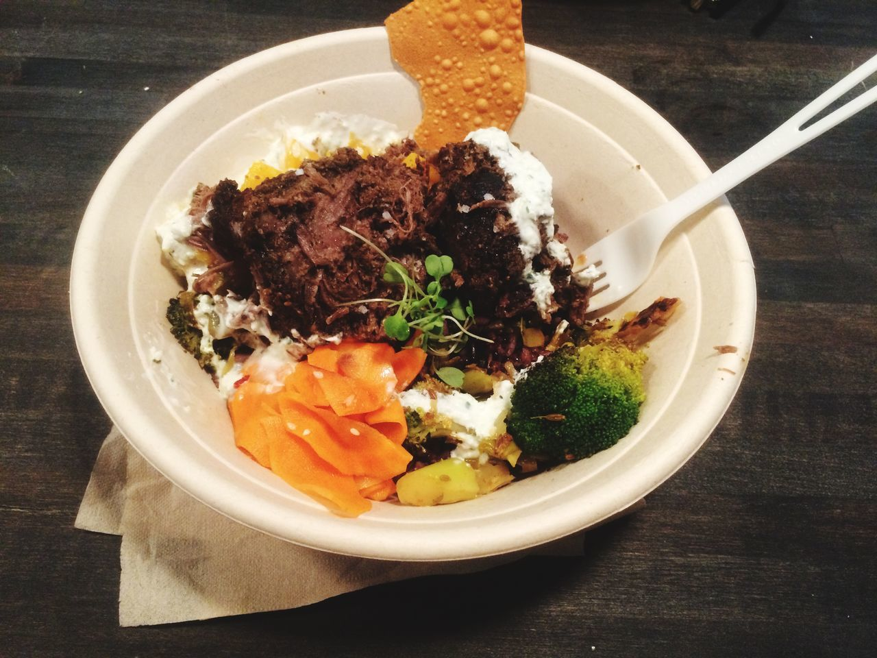 High Angle View Of Beef With Vegetables Served In Bowl