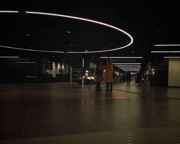Underground Underground Station  Women Full Length Standing Illuminated Architecture Subway Station Ceiling Light  Human Connection