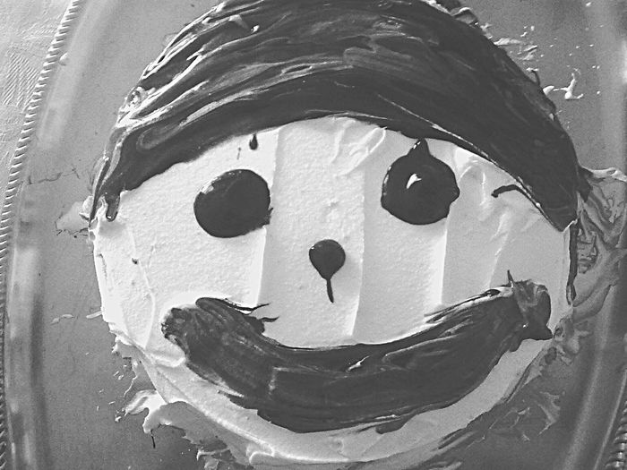 Happy Cake Cake Time Creativity Man Made Object Human Face Food Not Delicious Blackandwhite