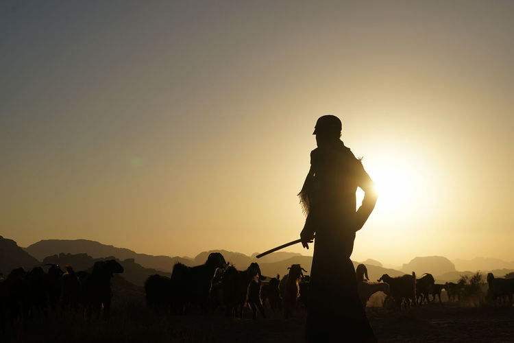 Silhouette Of A Shepherd At Sunset