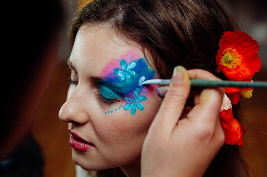 Beautiful Woman Birthday Party Bodyart Close-up Creativity Day Face Paint Face Painting Facepaint Fashion Flower Focus On Foreground Headshot Indoors  Make-up Multi Colored One Person People Real People Red Young Adult
