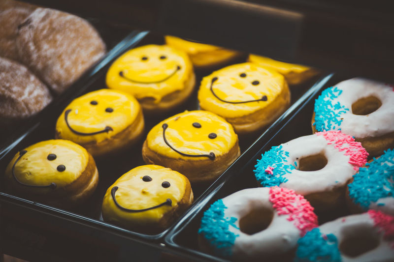Close up of donuts