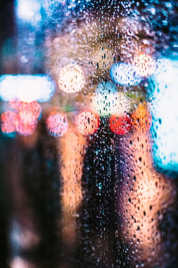 Close-up of water drops on glass window