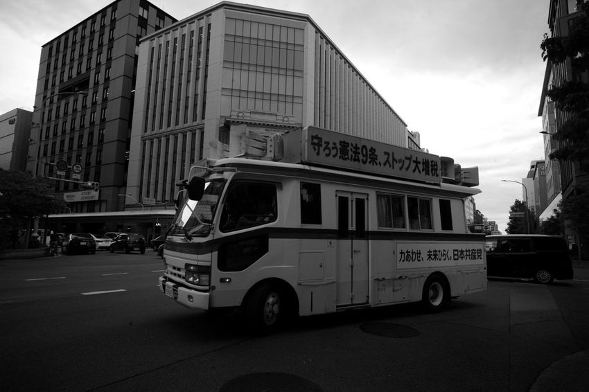 Redly Kyoto Car Van Communism Red Bw Blackandwhite Monochrome Leica M9-p Voigtlander Lens Color-skopar 21mm F4 City Modern Sky Architecture Building Exterior Built Structure Office Building Tall - High Land Vehicle Moving