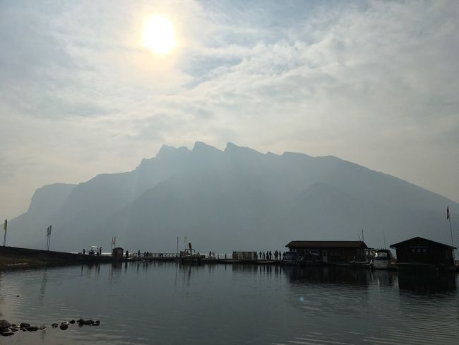 Canada Water Sky Mountain Waterfront Cloud - Sky Beauty In Nature Scenics - Nature Lake Nature Reflection Mountain Range Tranquil Scene Architecture Tranquility Nautical Vessel Built Structure Fog Sun Outdoors