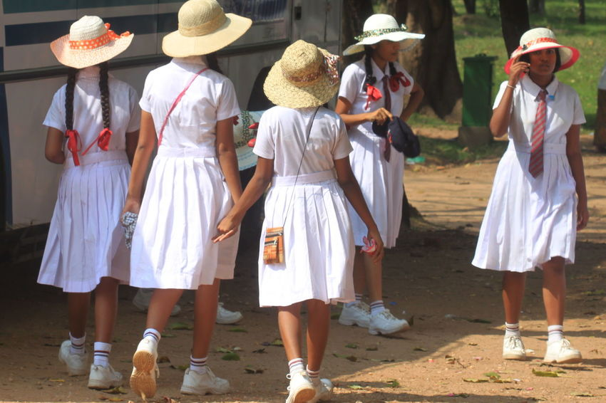 Day Hats Lifestyles Outdoors Polonnaruwa School Uniforms Around The World Schoolgirls Side By Side Sri Lanka White Clothes