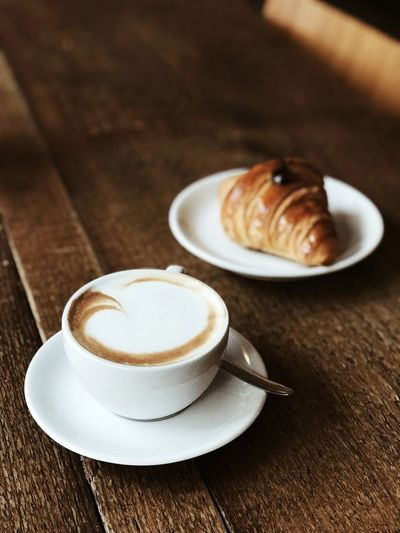 Morning glory Breakfast Croissant Brioche Food And Drink Coffee - Drink Table No People Indoors  Drink Bakery Plate Cappuccino Latte Frothy Drink Freshness Ready-to-eat