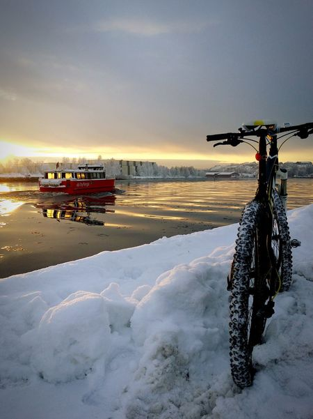By land, by sea. Cycling Mountainbike Snow River Riverside Bike Biking Ferry Cold Winter Winter Wonderland Elements Sunset EyeEm Best Shots Nature Photography Urban Water Reflections Water EyeEm Best Shots - Nature Showcase: April