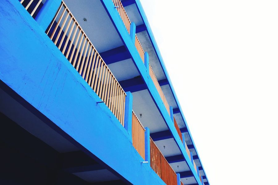 050 : Blue Building Architecture Built Structure Low Angle View Building Exterior Clear Sky Blue High Section City Day Tall - High Sky Outdoors No People Tall Bridge