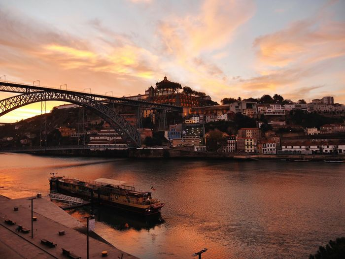 Architecture Sky City River Sunrise Morning Light Morning Sky Built Structure Water Bridge - Man Made Structure Cityscape Urban Landscape EyeEm Gallery Portugal Porto Urban Exploration Douro  Waterfront Ponte Dom Luis Travel Destinations My Year My View